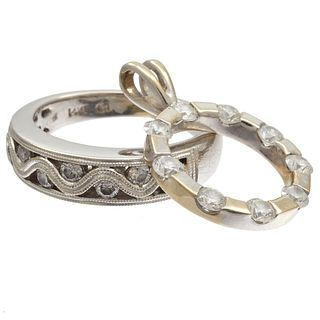 Diamond, 14k White Gold Ring with Pendant