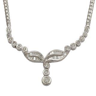 Diamond, 18k White Gold Necklace