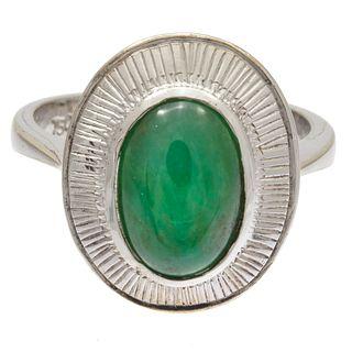 Jadeite, 18k White Gold Ring