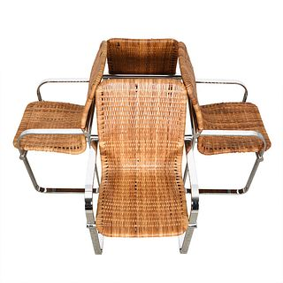 Set of 4 Milo Baughman Chrome & Rattan Chairs