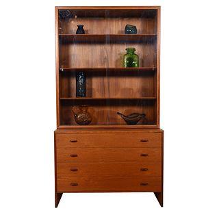 Hans Wegner Danish Teak 2 Pc. Display / Storage Cabinet with Glass Doors