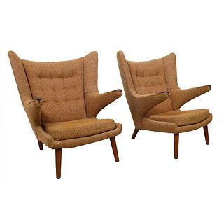 Pair of Early Hans Wegner Papa Bear Chairs