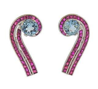 Retro Platinum Aquamarine Ruby Earrings