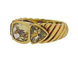 David Yurman 18K Gold Quartz Band Ring