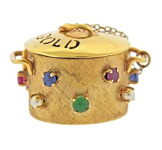 14K Gold Multi Gemstone Pot of Gold Charm