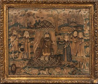 Early English Royalty Scene Needlework Picture