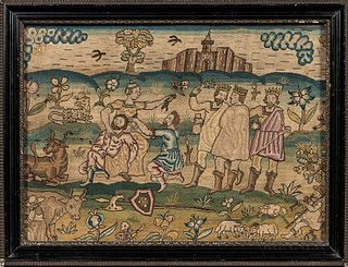 "Early English ""Sampson and Delilah"" Needlework Picture"