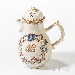 Polychrome Decorated Export Porcelain Coffeepot with Shoe and Bootmaker Imagery