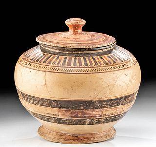 Greek Corinthian Polychrome Lidded Pyxis