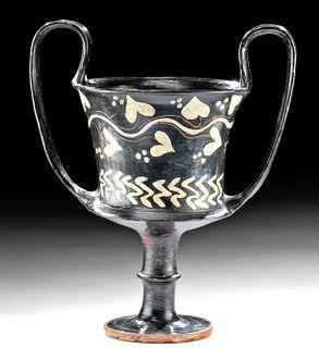 Greek Boeotian Black Glazed Kantharos - Ivy Motif