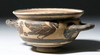 Greek Corinthian Pottery Skyphos - Owls & Birds