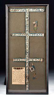Framed Egyptian Cartonnage Mummy Linings for Nes Khonsu