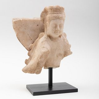 Chinese Carved Marble Fragment of Bodhisattva