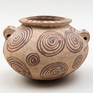 Egyptian Pre-Dynastic Painted Buffware Bowl with Lug Handles