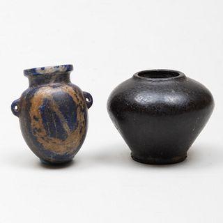 Small Egyptian Stone Cosmetic Jar and a Lapis Lazuli Amphoriskos