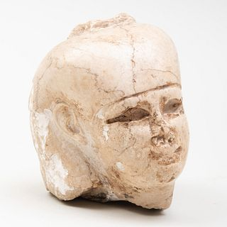 Egyptian Carved Stone Head of a Pharaoh