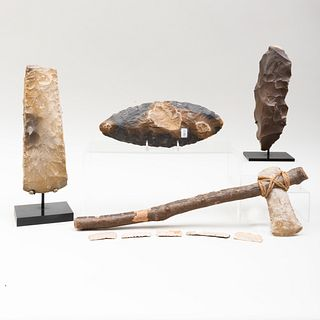 Group of Neolithic Stone Axe Heads, a Stone Scraper and Five Smaller Stone Implements