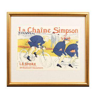 HENRI TOULOUSE-LAUTREC. La Chaine Simpson. Firmada con monograma y fechada '96. Litografía edición póstuma sin firma. Enmarcada.