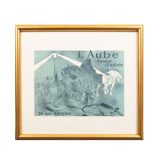 HENRI TOULOUSE-LAUTREC. L´Aube revue illustrée. Firmada con monograma. Litografía edición póstuma sin firma. 22 x 30 cm