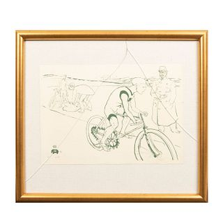 "HENRI TOULOUSE-LAUTREC. ""Michael"". Firmada con monograma y fechadada '96. Litografía edición póstuma sin firma. Enmarcada."