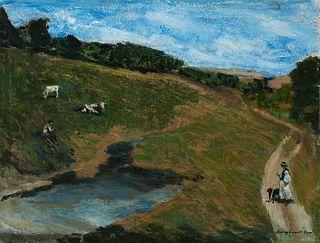 Rezso Zsombolya Burghardt (Hungarian 1884-1963)     -  Shepherd   -   Oil on canvas, framed