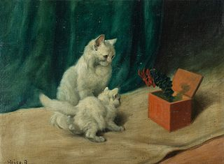 Arthur Heyer (Hungarian 1872-1931)     -  Cats and the Jack in the box   -   Oil on canvas board