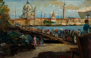 Italico Brass (It. 1870-1943)     -  Venice Harborside   -   Oil on Canvas<R>