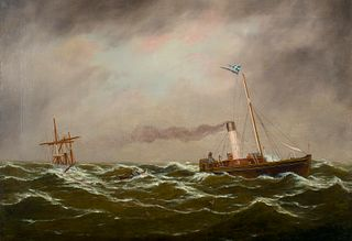 J. Miller (19th Century)     -  A Sailing Ship in Distress   -   Oil on canvas