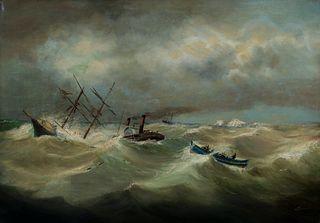 J. Newman (Am. 19th Century)     -  Shipwreck off the Coast, c. 1870   -   Oil on canvas