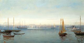 "Harrison Bird Brown (Am. 1831-1915)     -  ""Portland Harbor""   -   Oil on canvas"