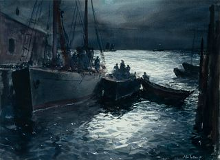 """John Whorf (Am. 1903-1959)     -  """"Path of the Moon""""   -   Watercolor on very thick paper, framed under glass"""