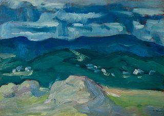 "Carl Sprinchorn (Am. 1887-1971)     -  ""Haying Time"" Monson, Maine 1912   -   Oil on board"