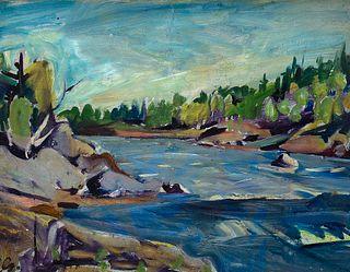 "Carl Sprinchorn (Am. 1887-1971)     -  ""Looking Down Whetstone Falls"" 1944   -   Oil on wood"