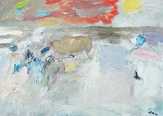 """Reuben Tam (Am. 1916-1991)     -  """"Surf and Clouds"""" 1957   -   Oil on masonite"""