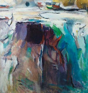 Elena Jahn (Am. 1938-2014)     -  Moon, Water, Rocks-Monhegan, Maine 1963   -   Oil on canvas