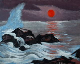 "Ernest Fiene (Am. 1894-1965)     -  ""Sunset, Monhegan Island""   -   Oil on canvas, framed"
