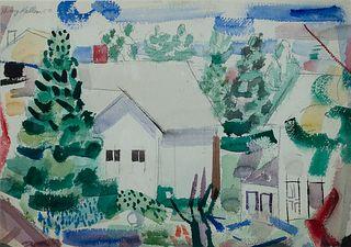 Henry Kallem (Am. 1912-1985)     -  Houses on Monhegan, 1950   -   Watercolor on paper, framed under glass