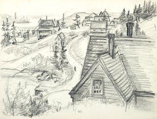 Emily Muir (Am. 1904-2003)     -  Stonington Village   -   Graphite on paper