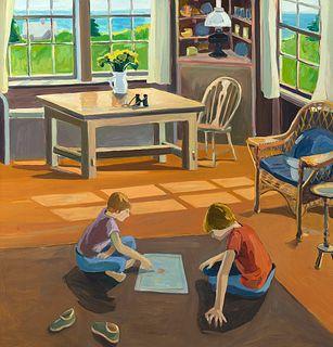 Elena Jahn (Am. 1938-2014)     -  Playing Monopoly-Monhegan, Maine 1974   -   Oil on canvas
