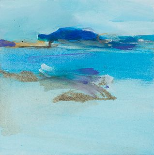 """Connie Hayes (Am. 20th Century)     -  """"Gestural Coast"""" 1982   -   Gouache on paper, framed under glass"""