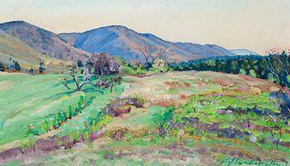 "Chris Huntington (Am. b. 1938)     -  ""Morning-Sunrise Valley"" 1990   -   Oil on board"