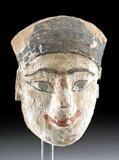 Egyptian Painted Gesso / Cedar Mummy Mask