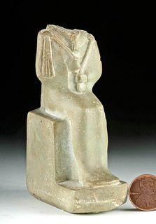 Egyptian Late Dynastic Stone Figure - Seated Osiris