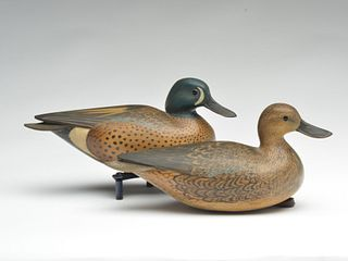 Rare pair of hollow carved blue wing teal, William Gibian, Onancock, Virginia.