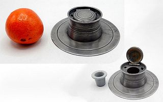 Pewter Disc Inkwell