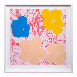 "ANDY WARHOL. 11.70 : Flowers Con sello en la parte posterior ""Fill in your own signature"" Serigrafía"