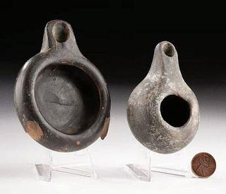 Lot of 2 Greek Blackware Oil Lamps, ex-Bonhams