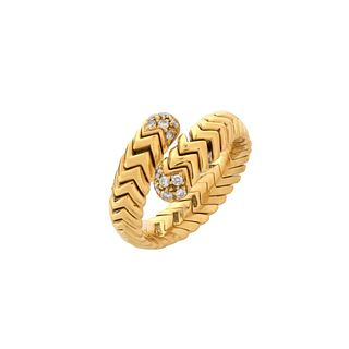 Bulgari Diamond and 18K Bypass Ring
