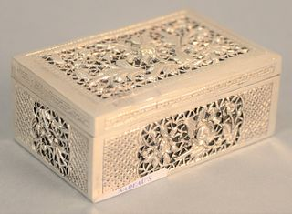 """Silver Chinese cricket box, ht. 1 1/2"""", top 2 3/4"""" x 4"""", 5.7 t.oz. ."""