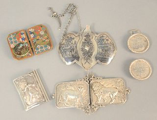 """Five belt buckles to include four silver and one cloisonne, lg. 1 3/4"""", 4.8 t.oz. ."""